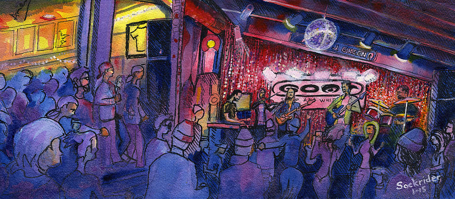 Band Painting - Dewey Paul Band At The Goat by David Sockrider