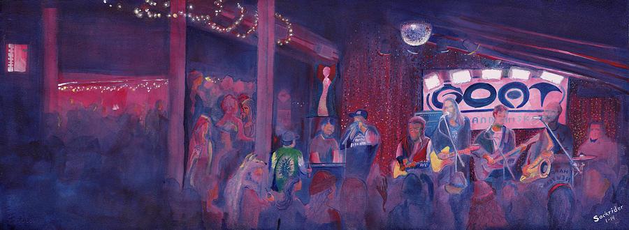 Band Painting - Dewey Paul Band At The Goat Nye by David Sockrider