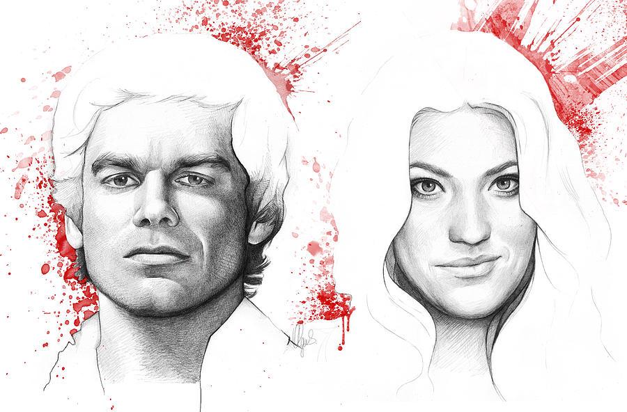 Dexter Drawing - Dexter and Debra Morgan by Olga Shvartsur