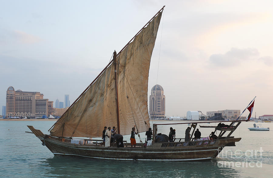Dhow and hotels by Paul Cowan