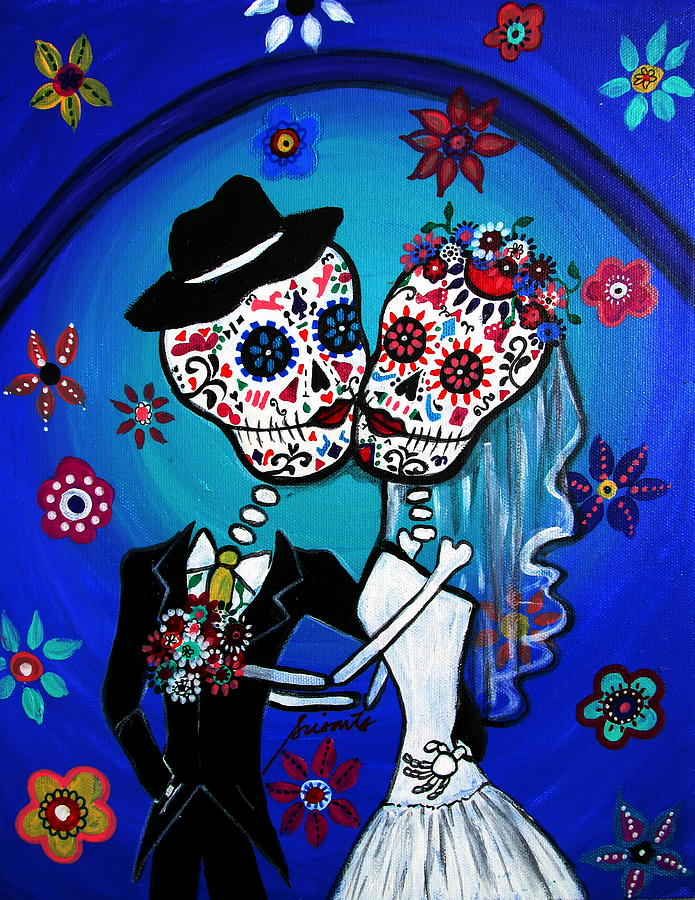 Wedding Painting - Dia De Los Muertos Kiss The Bride by Pristine Cartera Turkus