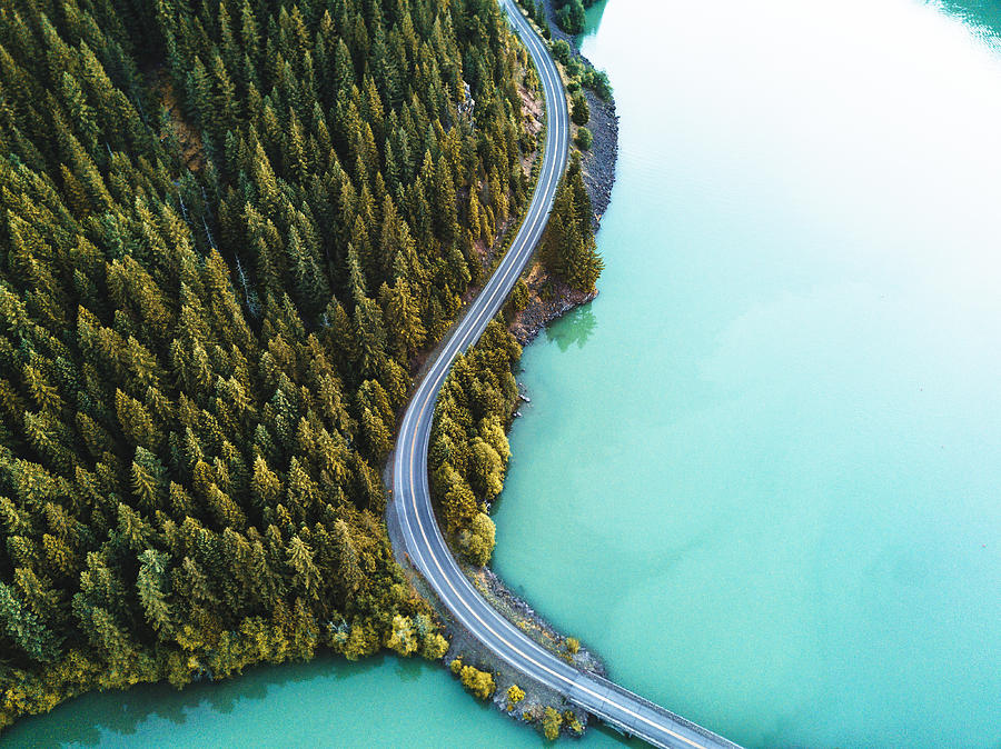 Diablo Lake Aerial View Photograph by Franckreporter