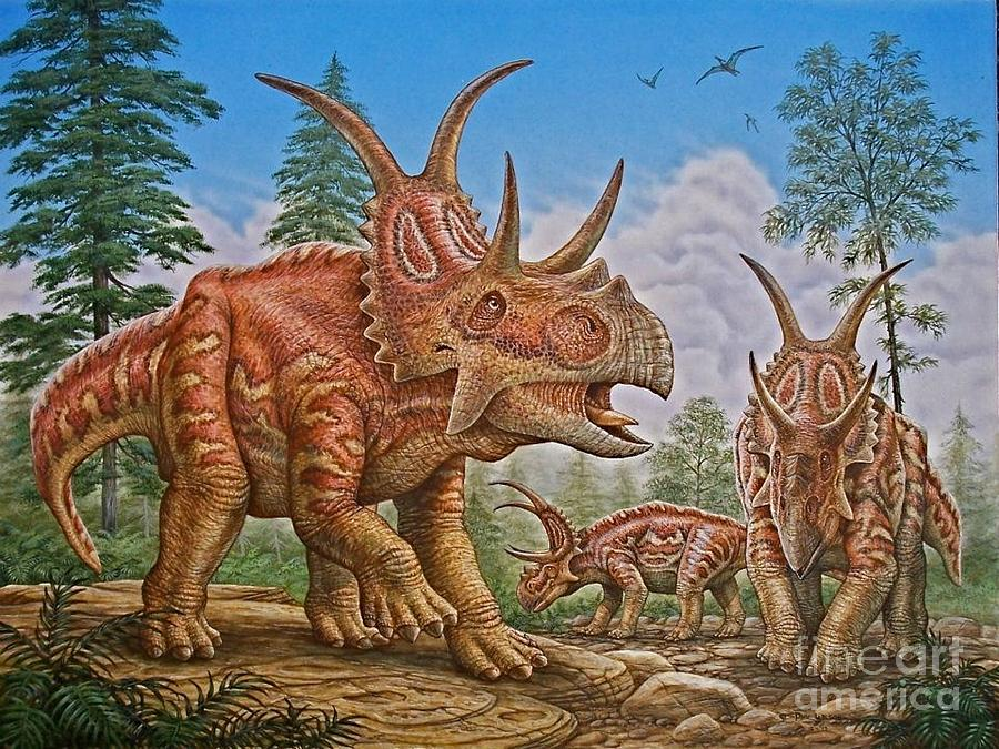Diabloceratops Painting - Diabloceratops by Phil Wilson
