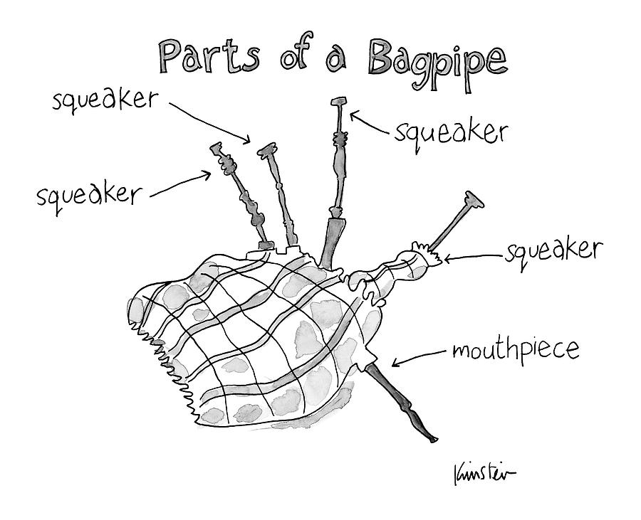 diagram entitled parts of a bagpipe drawing by ken krimstein