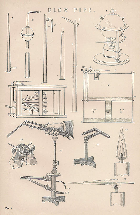 Blow Pipe Drawing - Diagrams And Parts Of A Blow Pipe by Anon