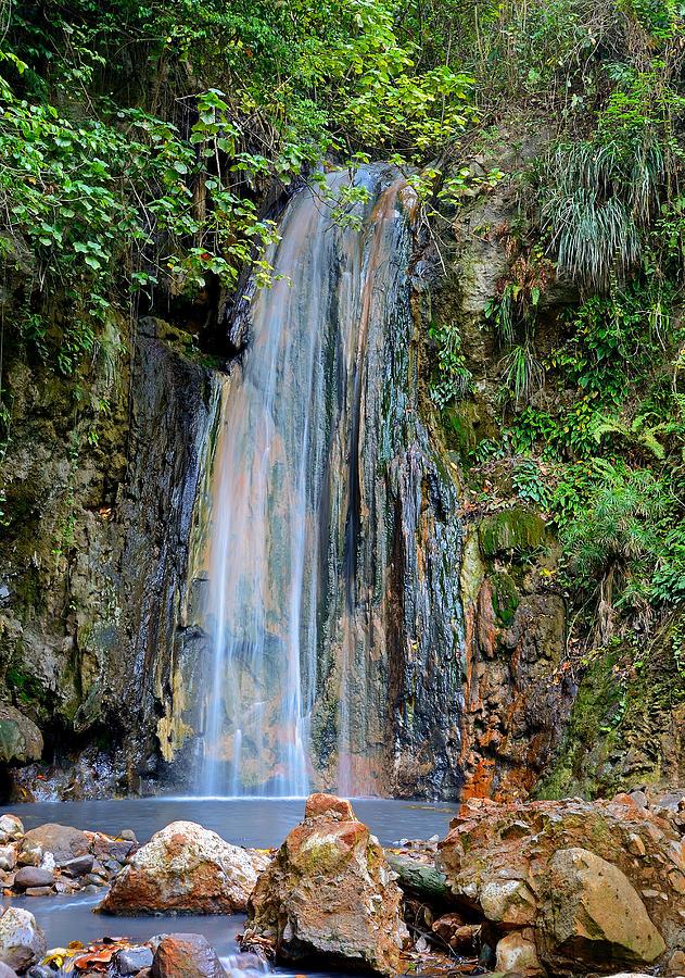 Saint Lucia Photograph - Diamond Falls - St. Lucia by Brendan Reals