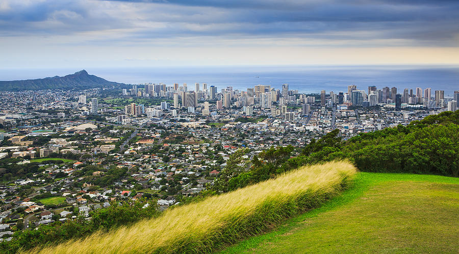 Diamond Head and the City of Honolulu by Ami Parikh