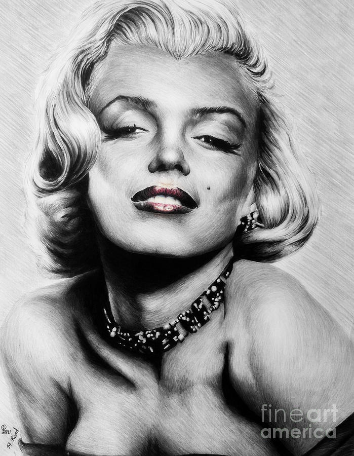 Marilyn Drawing - Diamonds Are A Girls Best Friend   Hot Lips Edition by Andrew Read