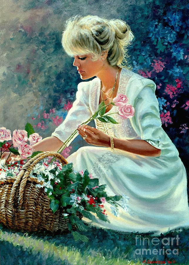 Girl With Flowers Painting - Diane by Michael Swanson