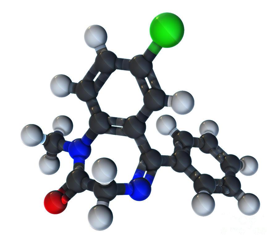 3d Illustration Photograph - Diazepam Molecular Model by Evan Oto