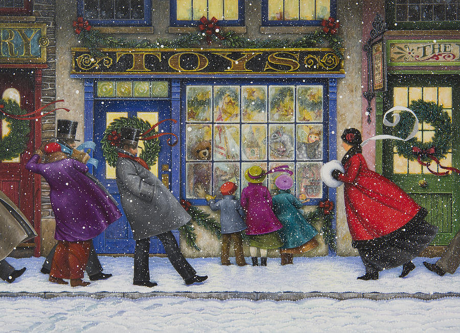 Christmas Painting - The Toy Shop by Lynn Bywaters