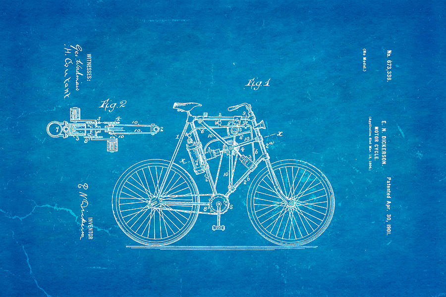 Dickerson motor cycle patent art 1901 blueprint photograph by ian monk engineer photograph dickerson motor cycle patent art 1901 blueprint by ian monk malvernweather Gallery