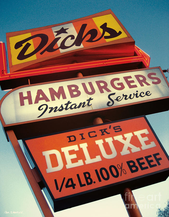 Burgers Digital Art - Dicks Hamburgers by Jim Zahniser