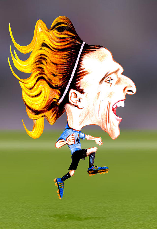 Forlan Drawing - Diego Forlan by Diego Abelenda