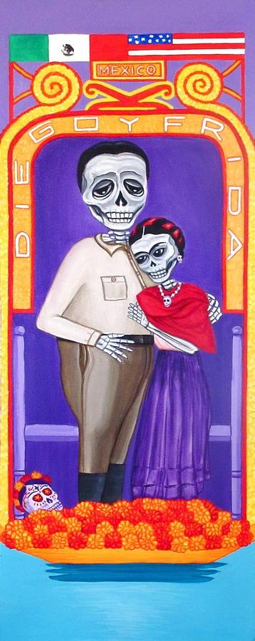 Diego Painting - Diego Y Frida Xochimilco by Evangelina Portillo