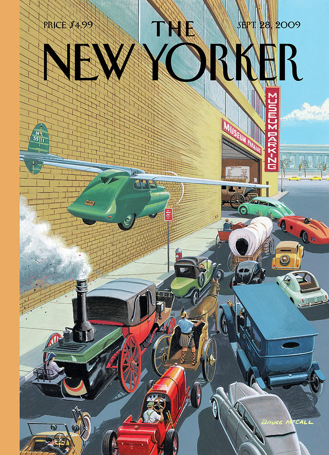 Different Types Of Cars From The Past Waiting Painting by Bruce McCall