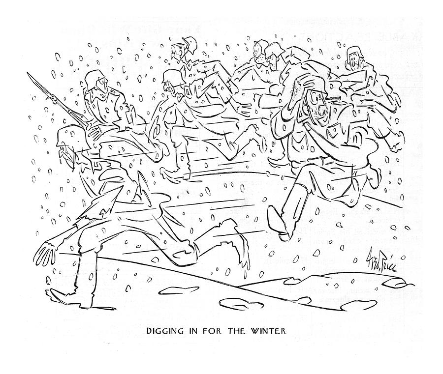 Digging In For The Winter Drawing by George Price