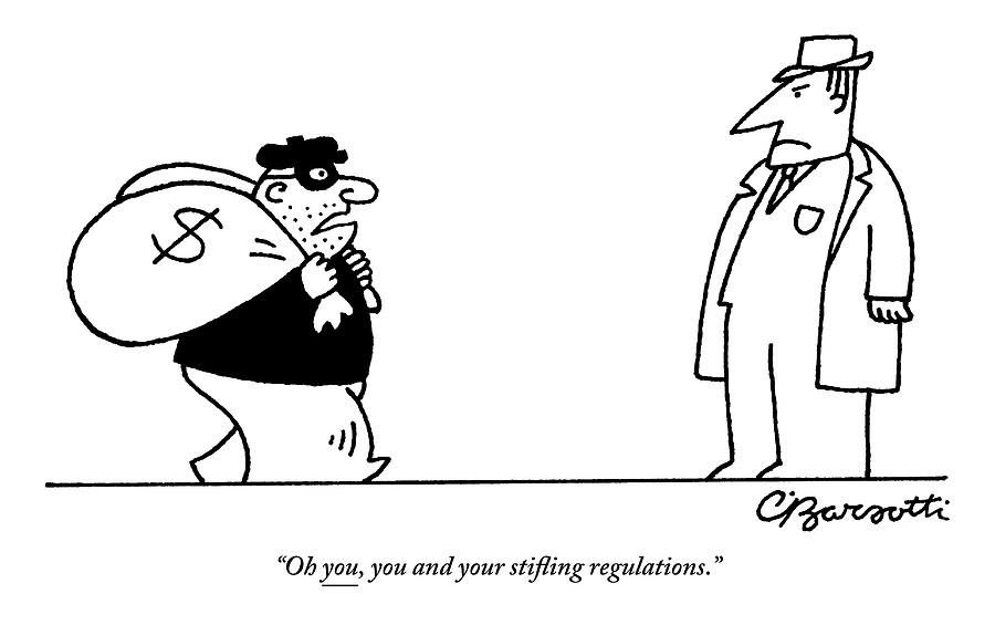 Digibuy A Robber With A $ Bag Speaks To A Police Drawing by Charles Barsotti