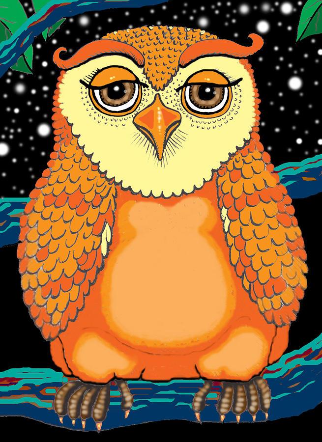 Owl Painting - Digiowl by Barbara Stirrup