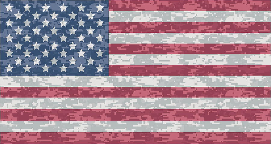 Digital Camo Us Flag Digital Art By Ron Hedges