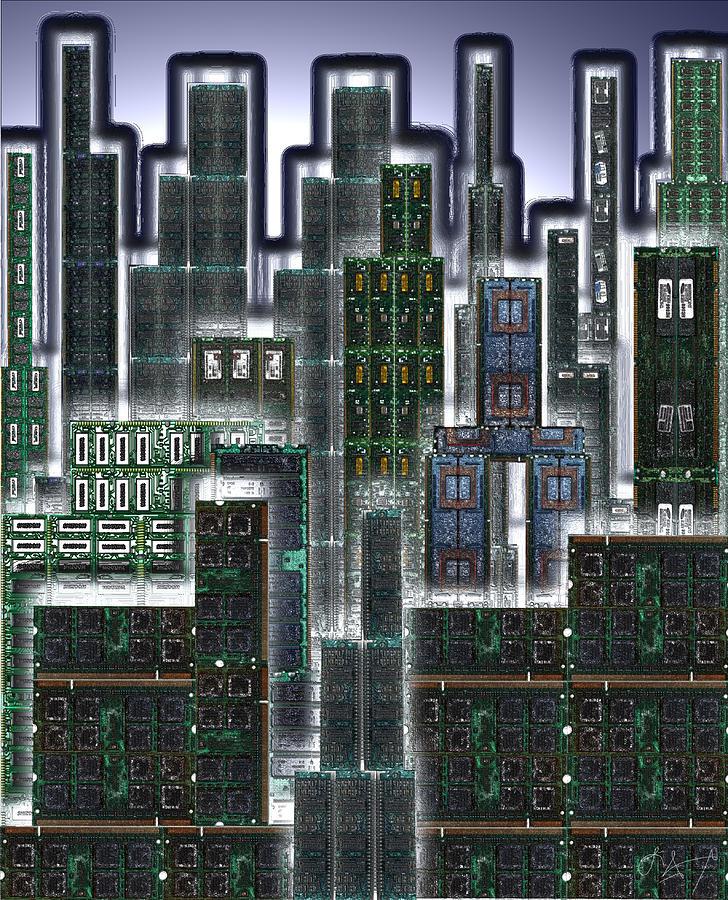 Cityscape Prints Digital Art - Digital Circuit Board Cityscape 3d - Glow by Luis Fournier