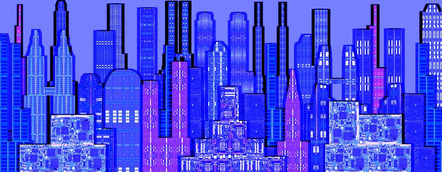 Cityscape Prints Photograph - Digital Circuit Board Cityscape 5c - Blue Haze by Luis Fournier