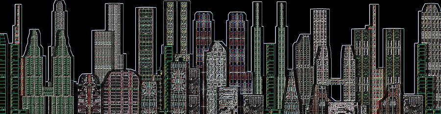 Digital Prints Digital Art - Digital Circuit Board Cityscape 5d - Blacktops by Luis Fournier