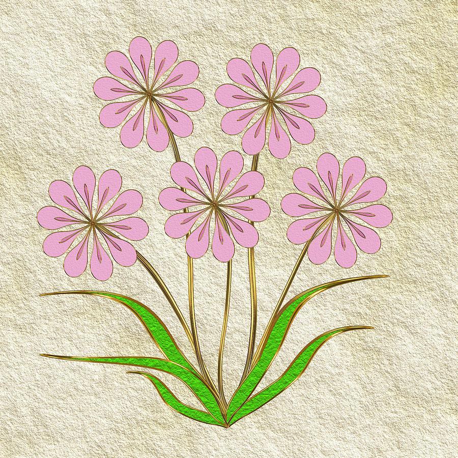 Pink Digital Art - Digital Flowers #6 by Pat Follett