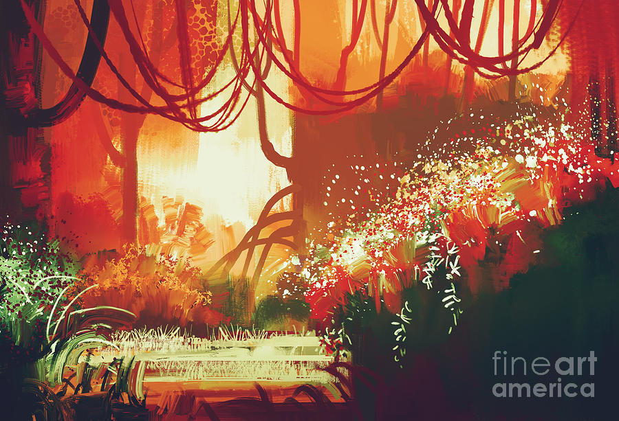 Forest Digital Art - Digital Painting Of Fantasy Autumn by Tithi Luadthong