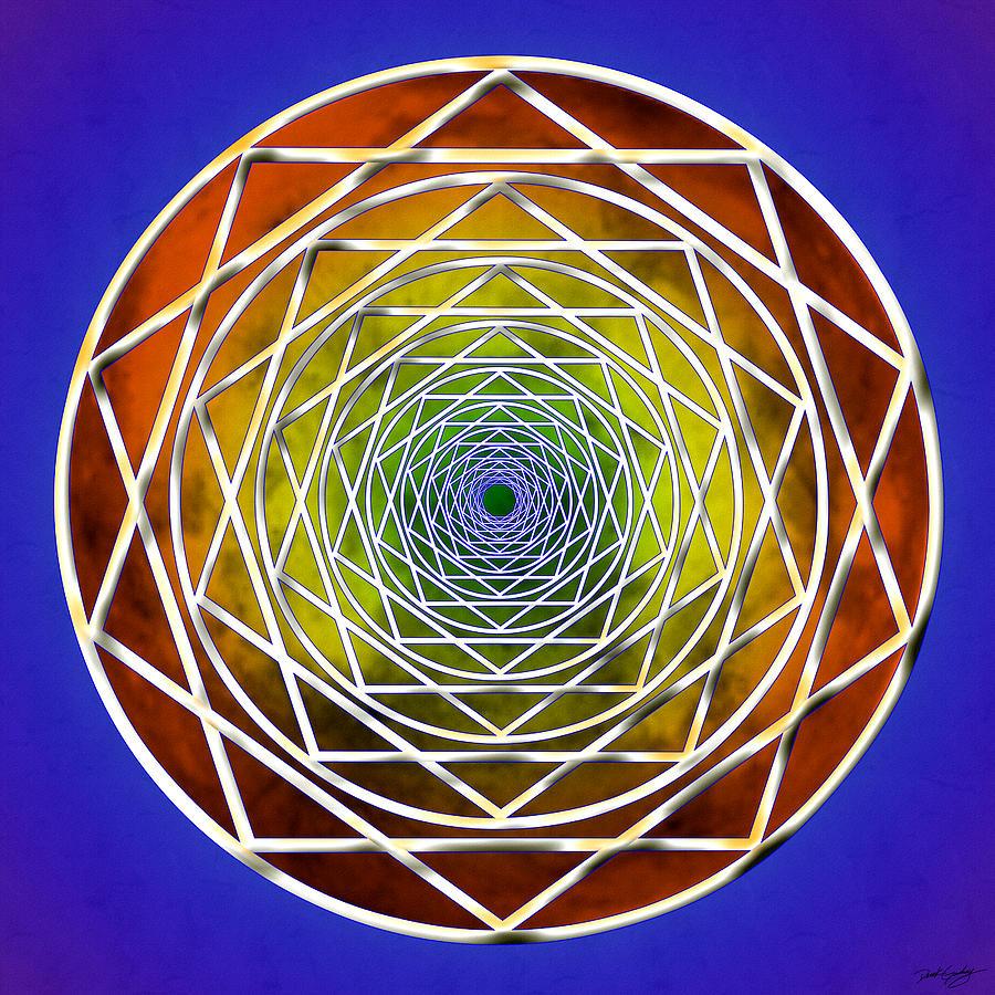 Sacred Digital Art - Digital Pentagon Wormhole by Derek Gedney