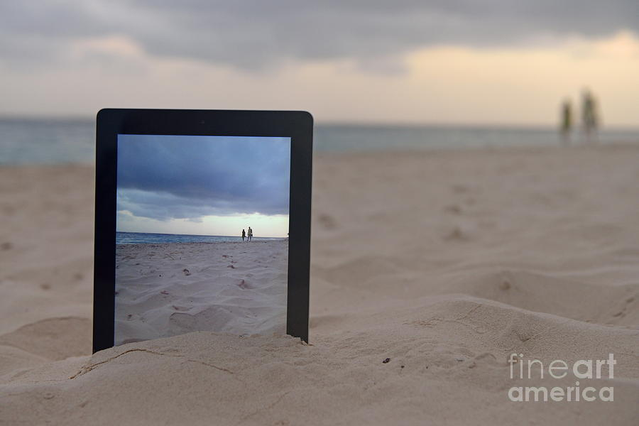 People Photograph - Digital Tablet In Sand On Beach by Sami Sarkis