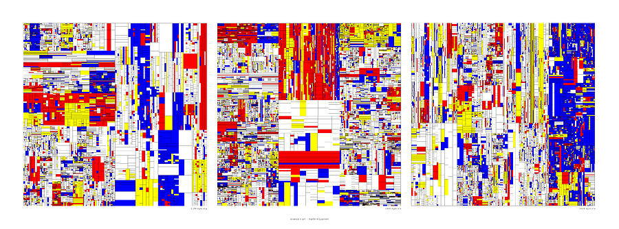 Pi Digital Art - Digits of Pi Phi and e in a 6 level treemap by Martin Krzywinski