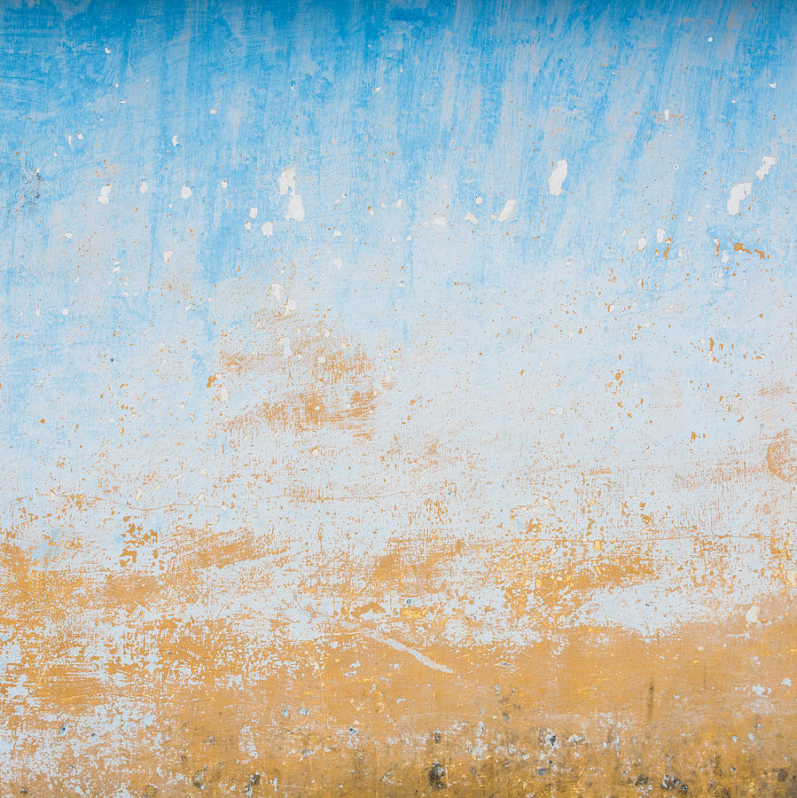 Dilapidated Beige And Blue Wall Texture Photograph By