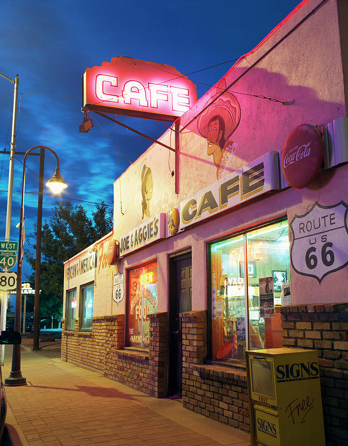 Shadow Photograph - Diner Along Route 66 At Dusk by Gary Yeowell