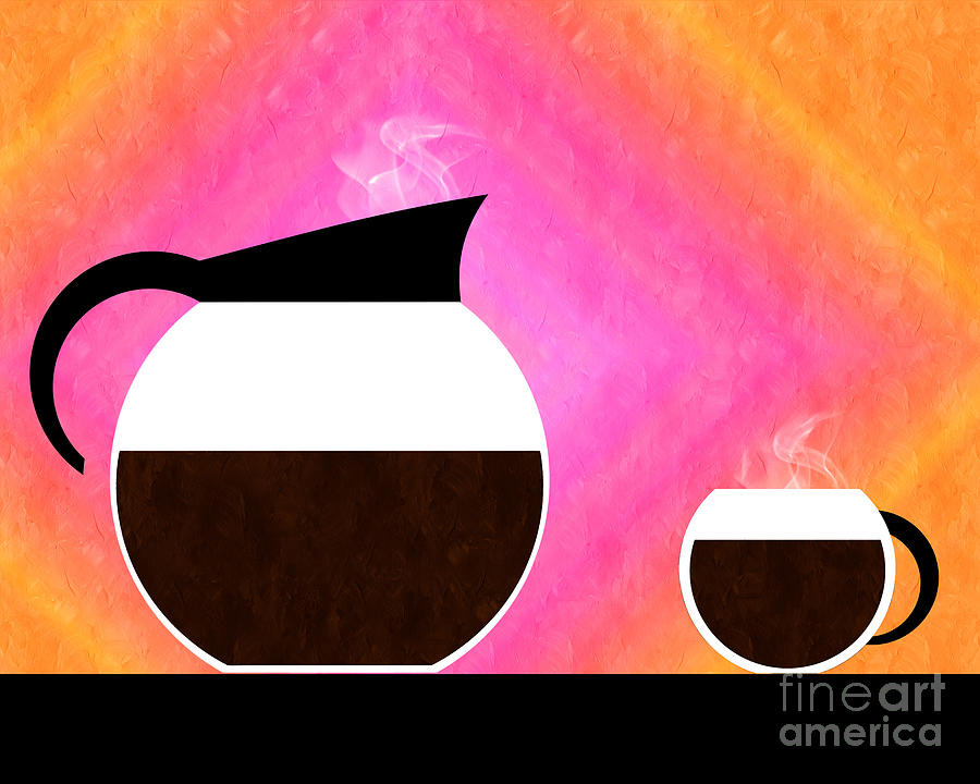 Coffee Digital Art - Diner Coffee Pot And Cup Sorbet by Andee Design