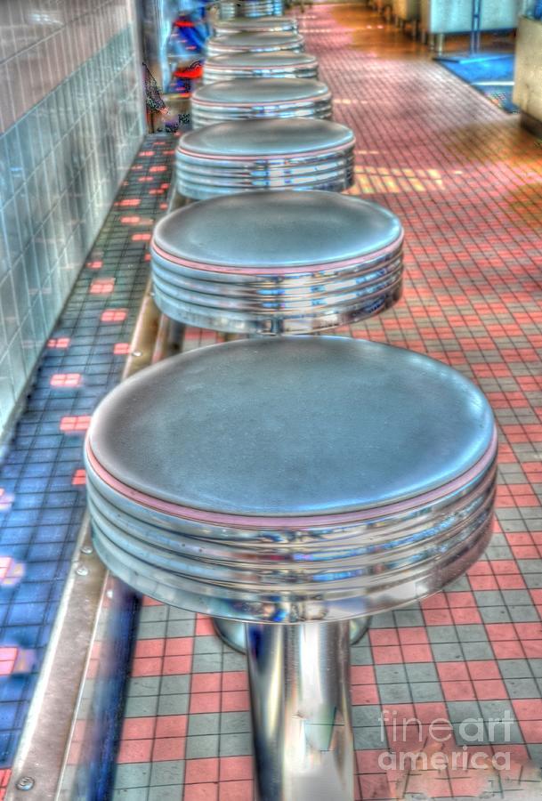 Diner Photograph - Diner Stools by Kathleen Struckle