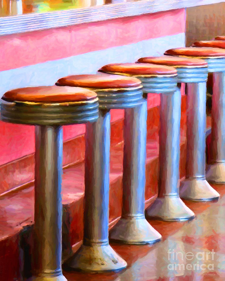 Diner Stool Photograph - Diner - V1 by Wingsdomain Art and Photography