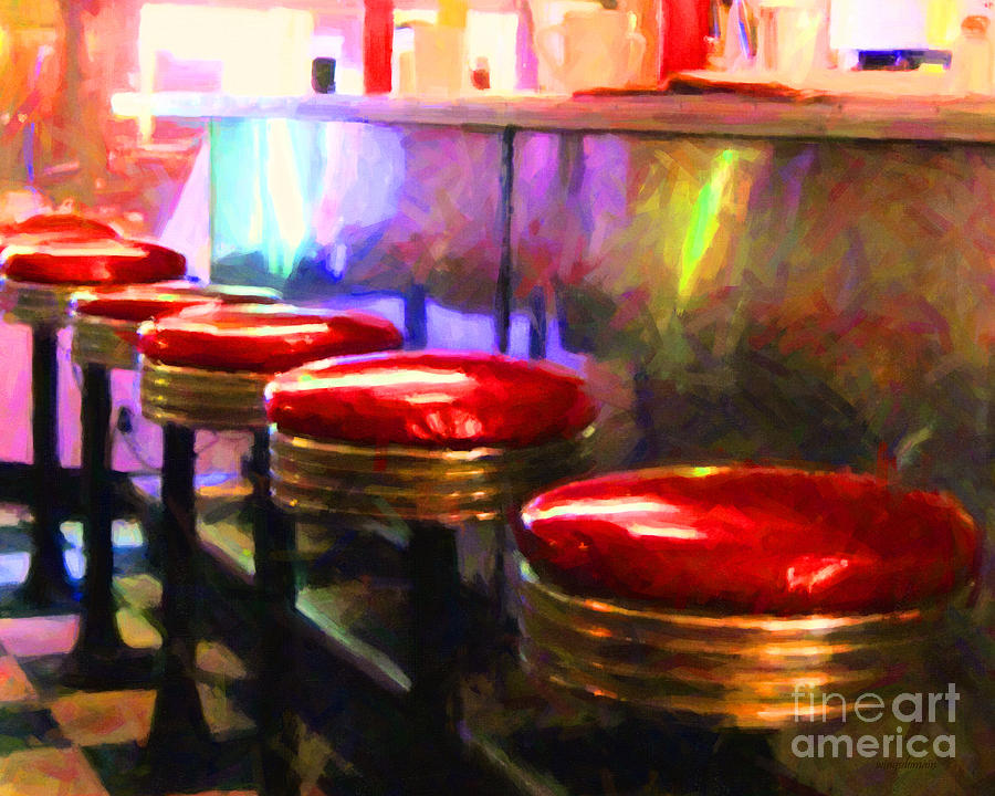 Diner Stool Photograph - Diner - V2 - Horizontal by Wingsdomain Art and Photography