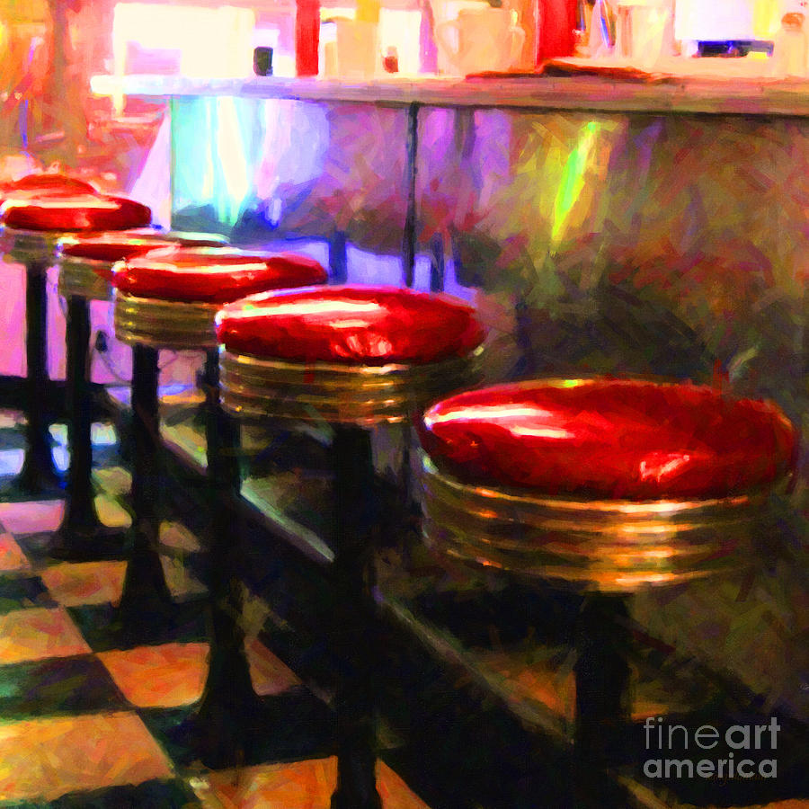 Diner Stool Photograph - Diner - V2 - Square by Wingsdomain Art and Photography