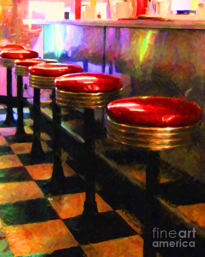 Diner Stool Photograph - Diner - V2 by Wingsdomain Art and Photography
