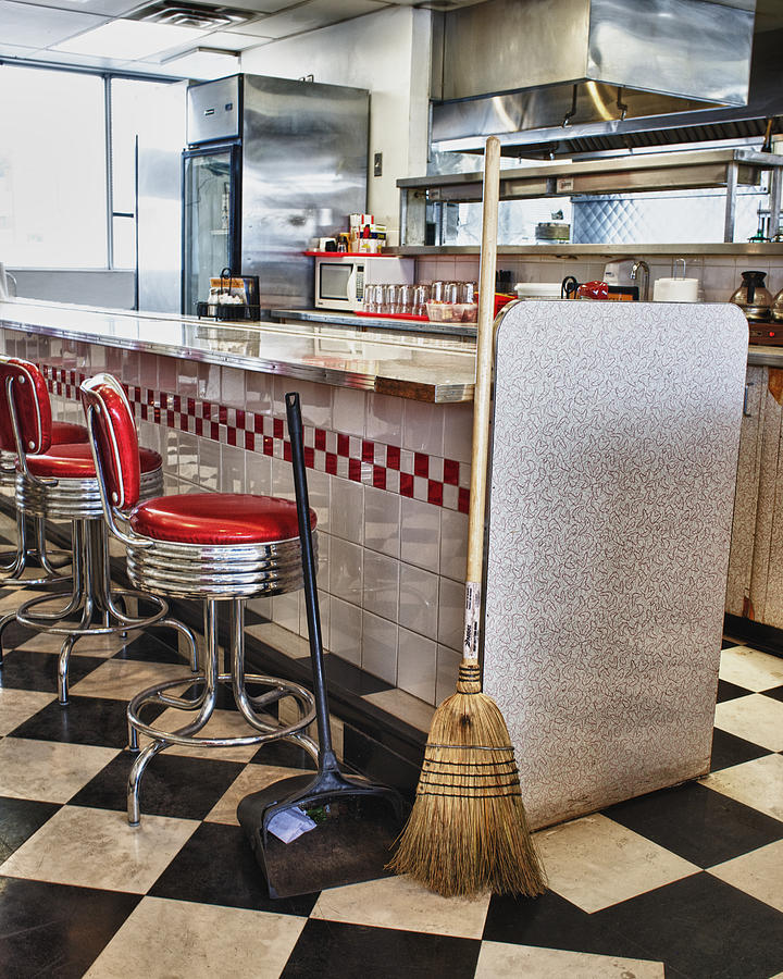 Broom Photograph - Dingy Diner by Trever Miller