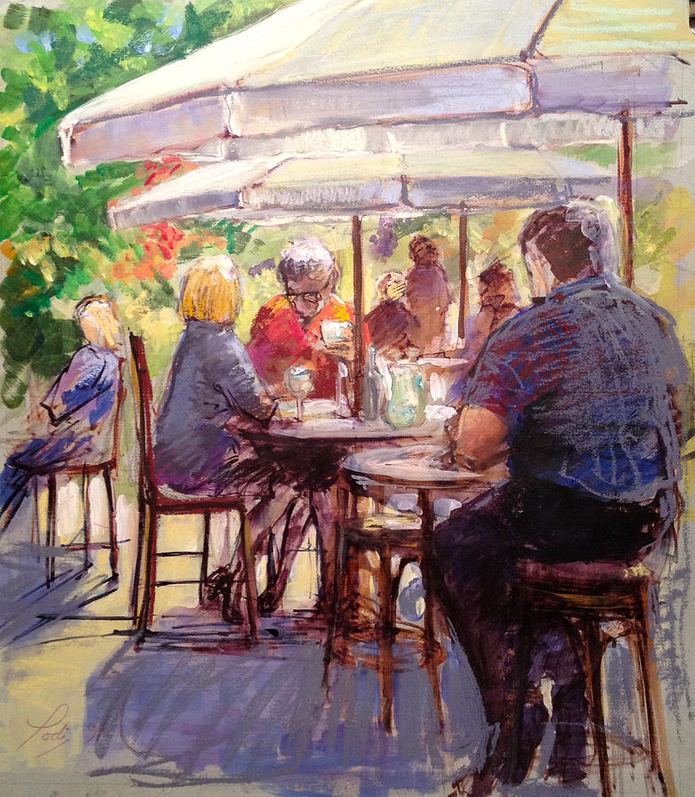 Merveilleux Figurative Painting   Dining Alfresco By Podi Lawrence