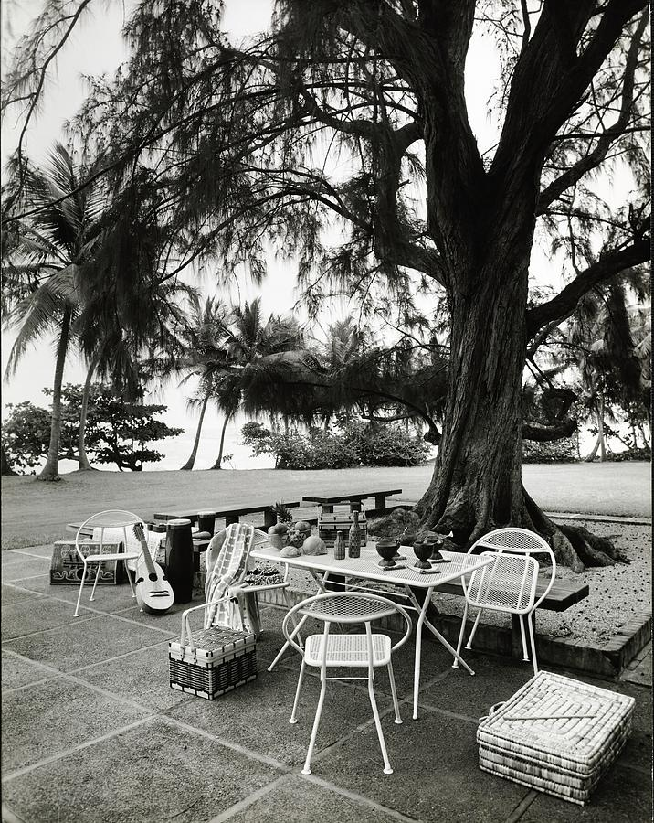 Puerto Rico Photograph - Dining Area On Patio by Tom Leonard