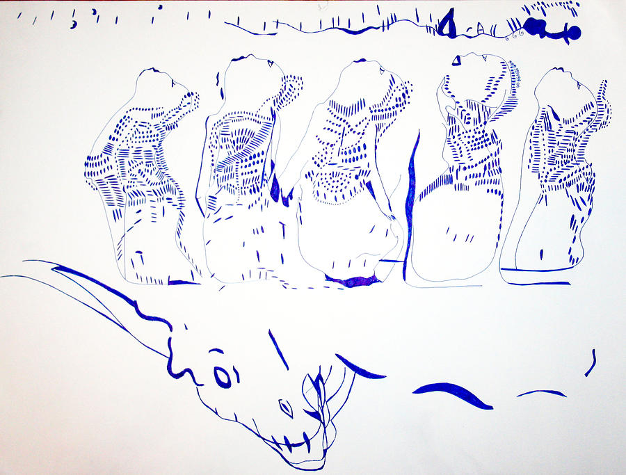 Jesus Drawing - Dinka Wise Virgins -south Sudan by Gloria Ssali