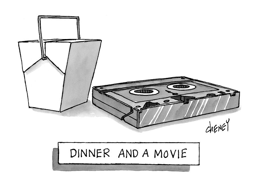 Dinner And A Movie Drawing by Tom Cheney