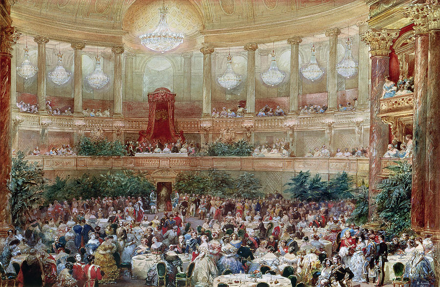 Water Painting - Dinner In The Salle Des Spectacles At Versailles by Eugene-Louis Lami