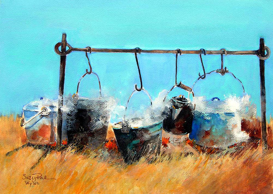 Cowboys Painting - Dinner Pots by Suzy Pal Powell