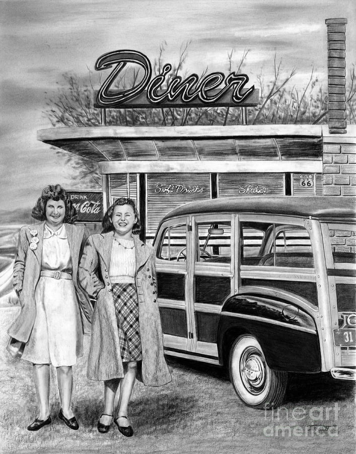 Route 66 Drawing - Dinner With The Girls by Peter Piatt