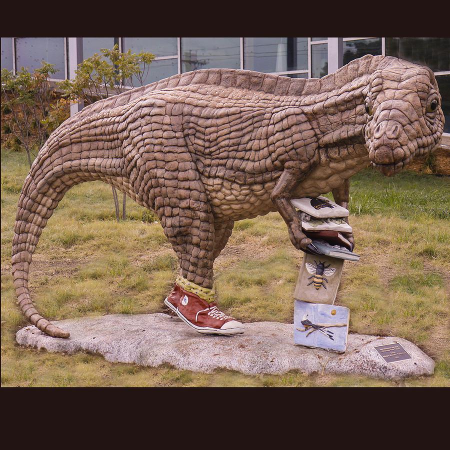 Dinosaur Sculpture - Dinosaur At The Northwest Library In Oklahoma City Ok by Faducci- Solomon Bassoff Domenica Mottarella