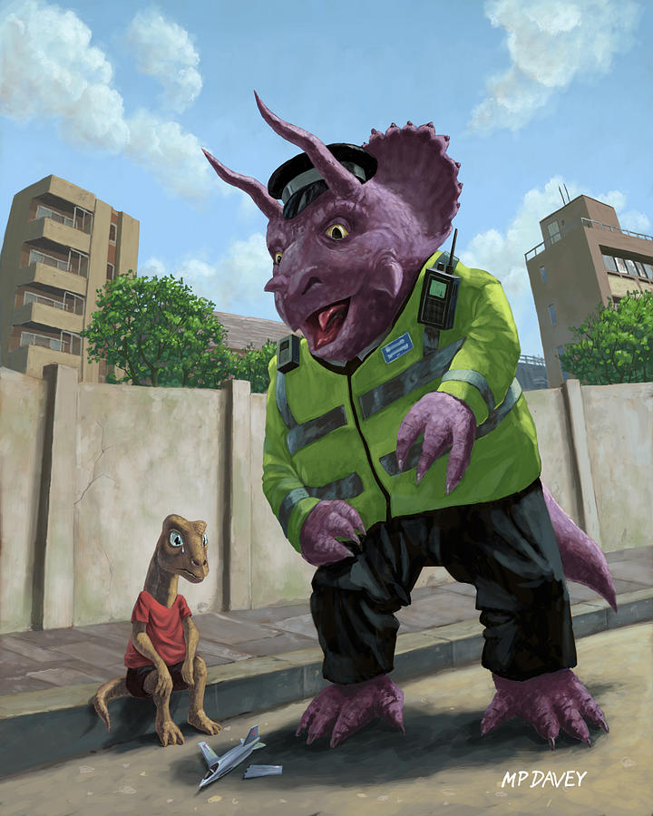 Dinosaur Painting - Dinosaur Community Policeman Helping Youngster by Martin Davey